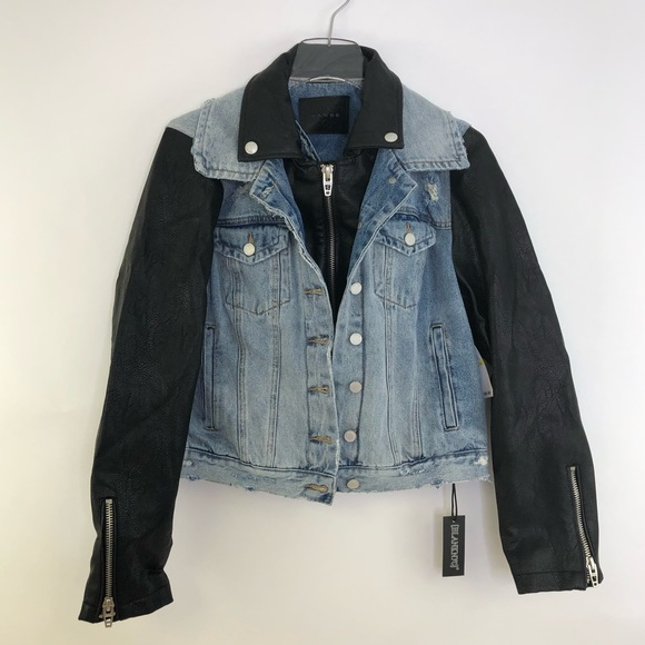 Blank NYC Jackets & Blazers - NWT Blank NYC Denim Vegan Leather Jean Jacket